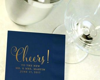 Custom Gold Foil and Navy Blue Cocktail Napkins - Wedding Reception, Event, Shower - Calligraphy, Gold, Beverage, Drink Size