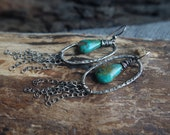 Turquoise tassel earrings - Large Fine Silver earrings - Hand forged Silver dangles with large Turquoise gemstones & Sterling Silver tassels