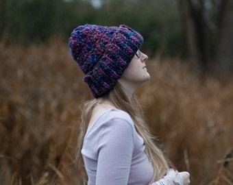 Purple Galaxy Crochet Hat // 100% Merino