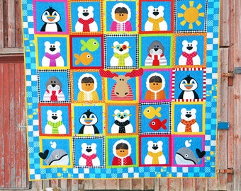 Fun at the North Pole | Quilt Patterns | PDF Patterns | North Pole | Kids Quilts | Moose | Applique Quilts | Happy Quilts | Polar Bears