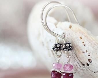 Silver Ruby Earrings - July Birthstone Jewelry - Pink Gemstone Earrings - Gift for Her, Mom, Women