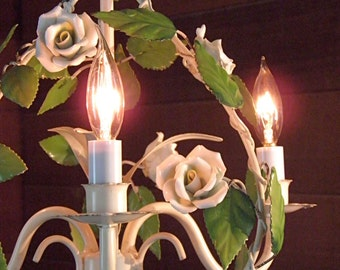 RESERVED. Vintage Chandelier Antique Tole Chandelier White Porcelain Roses 3 Lights Italian Design Petite Perfection & Loads of Charm!