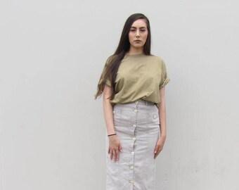 Linen maxi skirt Vintage 90s Botton front maxi skirt