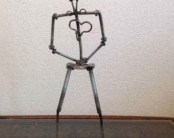 Bill Nye the Science Guy - Metal sculpture - heart - robot man - found objects - recycled, upcycled nails, nuts, bolts, screws