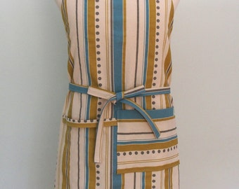 Blue and Yellow Stripe Canvas Apron with Pocket and Towel Loop, Adjustable Chef Apron, Extra Wide, Brook Stripe Summerland Citrine, Gray