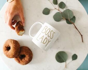 Boss lady mug, Girl boss mug, Coworker Gift, Best Friend gift, Gift for Boss, Coffee Mug, White and Gold mug, Coffee Cup, Gold Mug