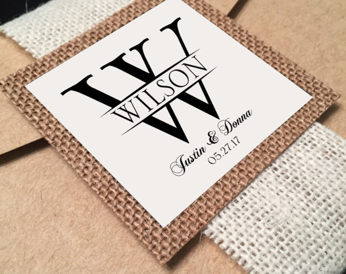 Rustic belly bands for wedding invitation, Burlap Medallion card, Vintage theme. Chic wedding decor. Monogram wedding tag.