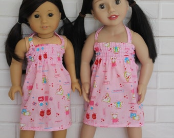 Pink Stretchy Bodice Summer Halter Dress Doll Clothes to fit 18 inch dolls to 20 inch dolls such as American Girl & Australian Girl dolls