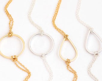 Circle / Teardrop Bracelet / Necklace, Gold / Silver, Double Chain, Wedding Bridesmaid Sister Girlfriend Gift, gj wj