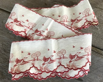 French Linen Shelf Trim, Embroidered Ducks Geese, Country Cottage Farmhouse Chic, French Textiles