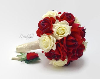 Red and White / Ivory Rose Bouquet, Red Bridal Bouquet, Real Touch Bouquet & Boutonniere, Bridal, Bridesmaid, December Wedding, Christmas