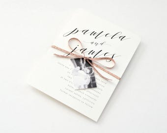 Blush Wedding Invites - Modern yet timeless, stylish, chic and sophisticated calligraphy, Invite (Pamela Suite)
