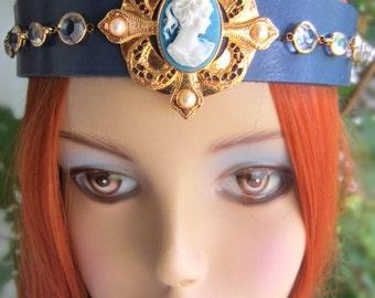 Jeweled Queens Crown, Cameo Headpiece, Ren Faire Headpiece, Burning Man Headdress