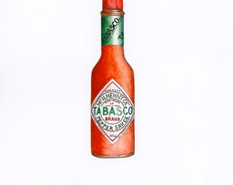 Tabasco Giclée Print - Hot Sauce - Food Art - Kitchen Art - Foodie - Pen and Ink