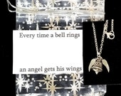 IT'S A WONDERFUL LIFE Silver Plated Necklace, quote card and silver organza bag
