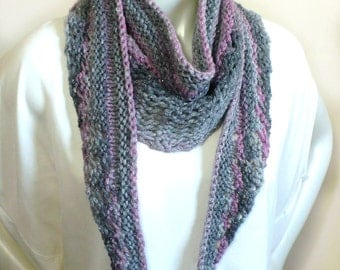 Hand Knit Woman's Scarf - Gray & Pink Striped Boho Scarf, Women's Fashion Accessories, Baktus Scarf, Handmade in the USA, Ready to Ship