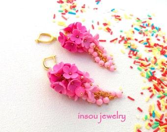 Pink Earrings, Flower Earrings, Pink Dangle Earrings, Statement Earrings, Spring Jewelry, Pink Jewelry, Romantic Jewelry, Gift For Women