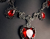 Nightmare Crystal Heart Necklace Gothic Lolita