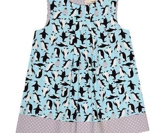 Penguins Handmade 'Mini Me' Little Girls Pleated Front Beatrice Shift Dress