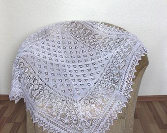Hand Knit Baby Shetland Shawl, Christening Shawl, knit baby blanket, newborn photo prop afgan, baby shower gift, READY TO SHIP