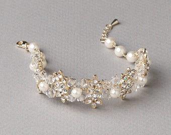 Gold Floral Wedding Bracelet, Gold Rhinestone Bracelet, Pearl Bracelet, Floral Bridal Jewelry, Crystal Bracelet, Flower Bracelet ~JB-4822