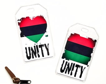 Pan African Flag Luggage Tag, Unity Gifts For Her, Girlfriend Gift, Urban Gift For Him, Afrocentric