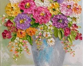 Custom Impasto Zinnia Flower Painting, Impasto Oil Painting, Summer Bouquet