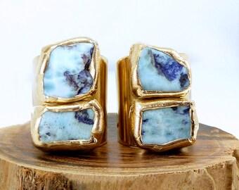 Larimar Ring, Raw Larimar Ring, Wide Band Ring, Gemstone Ring, Raw, Statement Ring, Stone Cocktail Ring, Larimar Jewelry, Stone, Adjustable.