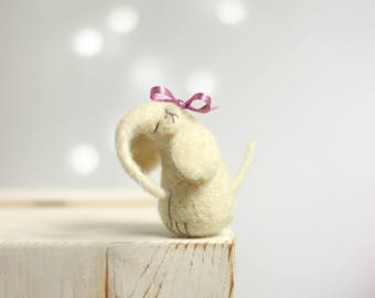 Needle Felted Elephant - White Elephant With Pink Ribbon - Needle Felt Art Doll - Withe Jumbo - Blush Pink - Needle Felt Animals