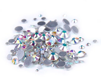 AB Clear --  5000 pcs Assorted 9 Sizes Crystal Glass Rhinestones Flatback High Quality no hotfix  Wholesale Pack Lot
