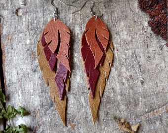 Recycled Leather Feather Earrings In Tan, Burnt Umber and Olive