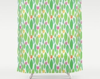 Floral Print Shower Curtain - bright green and turquoise leaves with pink, yellow, orange flowers, in a vintage design, neutral background