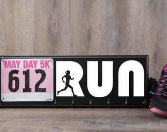 Run - Running medal and bib Holder - Runners display for men or women