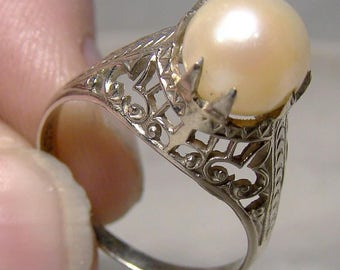 14K White Gold Filigree Art Deco Pearl Ring 1920s 14 K Size 5