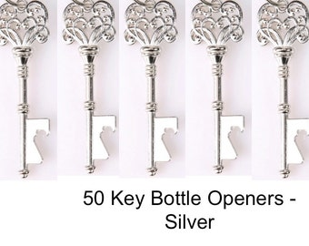 50 Skeleton Key Bottle Openers  (KEYS ONLY)- silver key bottle opener, Unique Wedding Favors, Wedding Favor, Wedding Decor - Silver