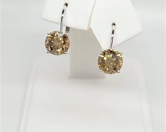 2ctw Golden Brown Moissanite Diamond 14kt White Gold Lever back Earrings