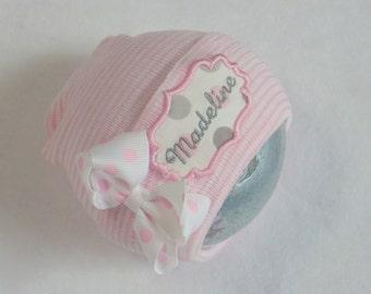 Newborn Girl Hospital Hat. Newborn Hospital Hat. Newborn Girl Take Home. Personalized Newborn Beanie. Newborn Name Hat