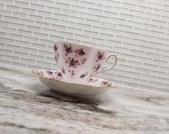 Vintage Royal Albert Debutante series Serenity pink floral tea cup, bone china english tea set, dainty teacup