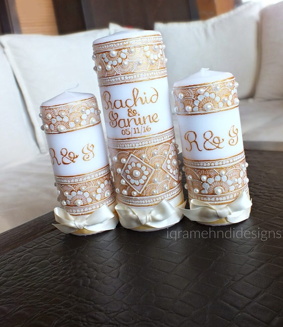 Mehndi Candles Personalised : Painted henna inspired unity candle set gold ivory pearl