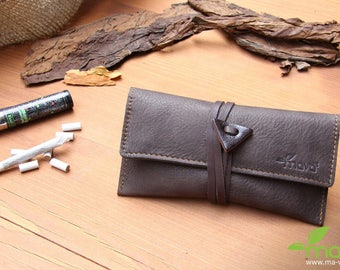 Leather tobacco pouch Brown velvet
