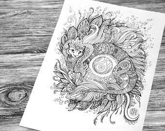 Cat-Dragon Adult Coloring Page Doodle Printable Colouring Zen Doodle