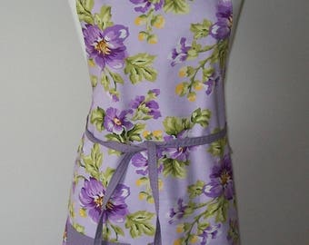 Lavender floral apron - reversible purple white pindot - green yellow - full lined - adjustable - pockets - spring summer kitchen apparel