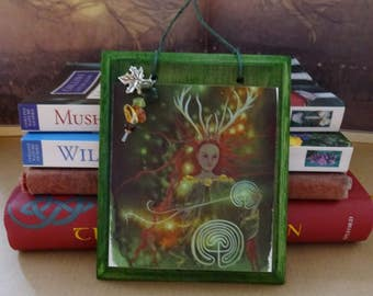 Path Weaver ~  Wooden Gemstone Art Plaque