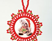 Santa Claus Teddy Bear, Christmas Ornament, Holiday Season Decoration, Handmade Beaded, Home Decor Christmas Gift