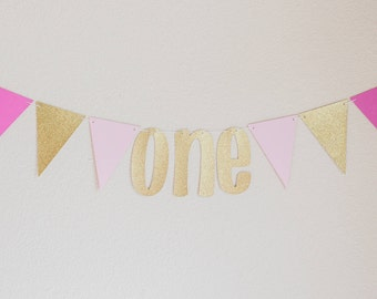 Pink and Gold First Birthday Banner-One Banner-Girls First Birthday Banner-Birthday Photo Prop-First Birthday Party-Pink and Gold Party