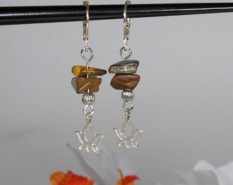 Sterling Silver Lotus Earrings with Tiger Eye Gemstone Chips