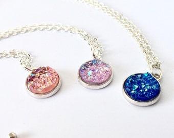 Druzy Necklace, Pink Druzy Necklace, Blue Druzy Necklace, Druzy Jewelry, Lilac Druzy Necklace, Peach Druzy, Bridesmaid Gift, Boho Jewelry