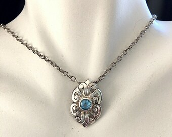 Sterling Silver Blue Topaz Antique Look Pendant - Light Blue Topaz With Victorian Style Floral Filigree Silver Work