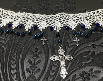 White Lace Choker, Vintage Lace, Gothic Victorian Choker, Beaded Pearl Choker, Gothic Cross Choker, White Lace Choker, Gothic Jewelry