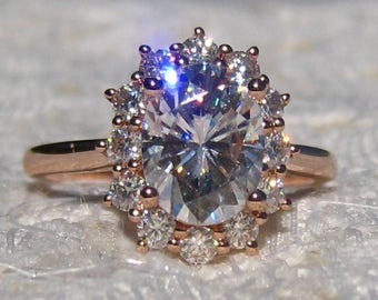 Forever One Moissanite Engagement Ring, Rose Gold Diamond Halo Engagement Ring, Round, Cushion, Oval Moissanite